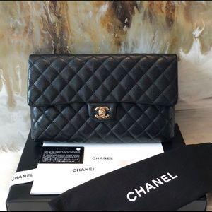 Chanel clutch black flap wallet 100% authentic